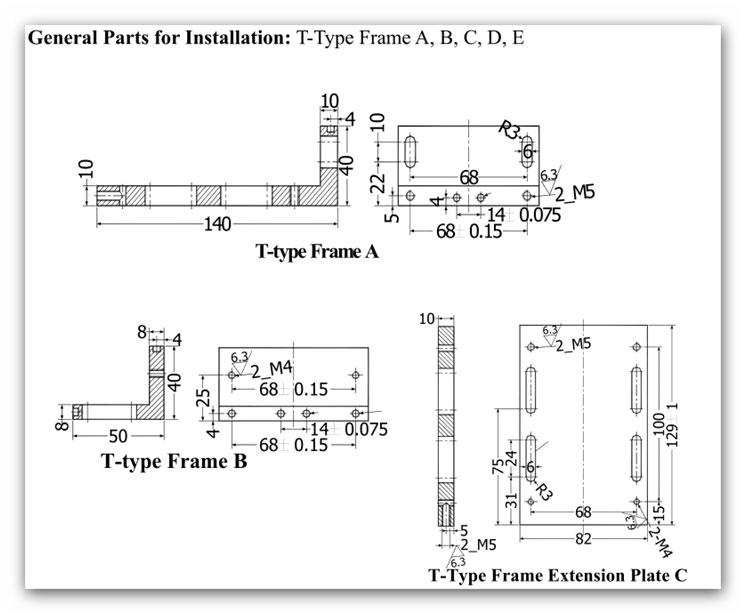 SINO T A 3 - قطعات آلومینیومی نصب خط کش سینو SINO